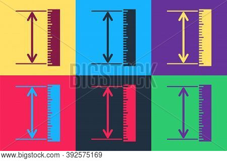 Pop Art The Measuring Height And Length Icon Isolated On Color Background. Ruler, Straightedge, Scal