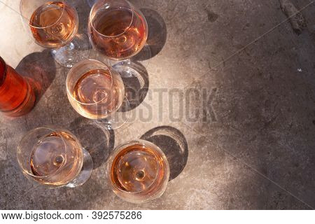 Pink Wine In Glasses With Shadows, Top View Close Up, Wine Testing Concept, Shadows Overlay