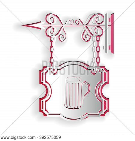 Paper Cut Street Signboard On Forged Brackets With Wooden Mug Of Beer Icon Isolated On White Backgro