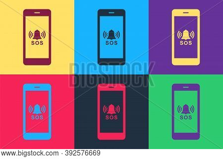 Pop Art Sos Call Icon Isolated On Color Background. 911, Emergency, Help, Warning, Alarm. Vector
