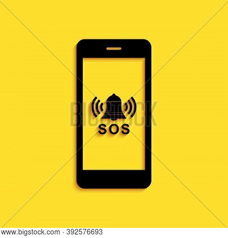 Black Sos Call Icon Isolated On Yellow Background. 911, Emergency, Help, Warning, Alarm. Long Shadow