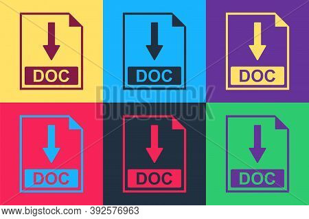 Pop Art Doc File Document Icon. Download Doc Button Icon Isolated On Color Background. Vector