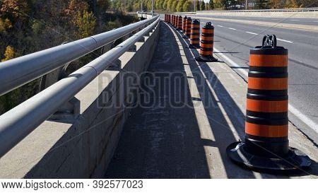 Road Construction Safety Cones On A Bridge Construction