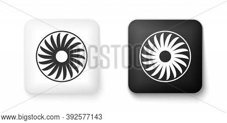 Black And White Ventilator Symbol Icon Isolated On White Background. Ventilation Sign. Square Button