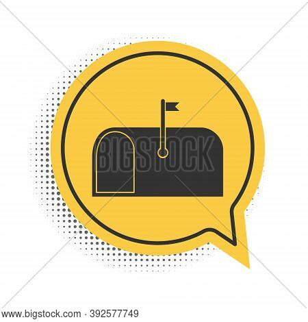 Black Mail Box Icon Isolated On White Background. Mailbox Icon. Mail Postbox On Pole With Flag. Yell
