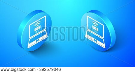 Isometric Laptop And Free Wi-fi Wireless Connection Icon Isolated On Blue Background. Wireless Techn