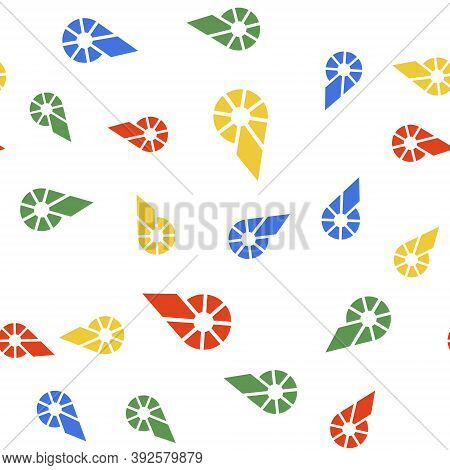 Color Cryptocurrency Coin Bitshares Bts Icon Isolated Seamless Pattern On White Background. Physical