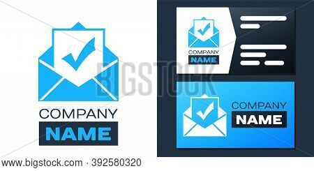 Logotype Envelope With Document And Check Mark Icon Isolated On White Background. Successful Email D