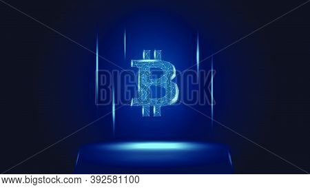 Bitcoin Btc Token Symbol Above The Pedestal. Cryptocurrency Logo Icon. Vector Illustration For Websi