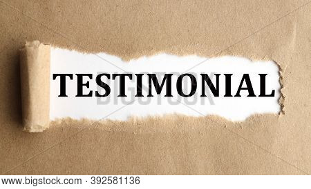Testimonial, Text On White Paper On Torn Paper