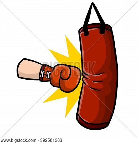 Red Boxing Glove. Punch The Punching Bag. Sports Inventory And Equipment.