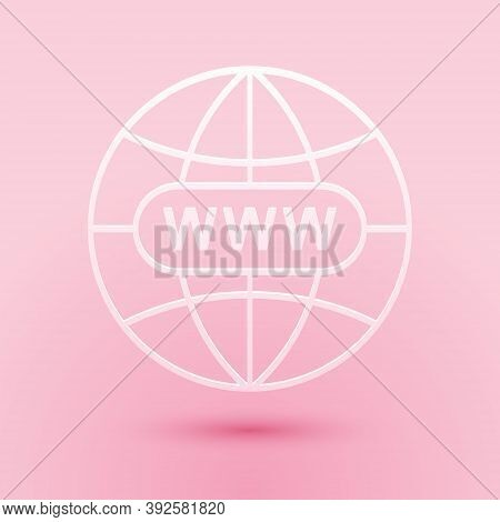 Paper Cut Go To Web Icon Isolated On Pink Background. Www Icon. Website Pictogram. World Wide Web Sy