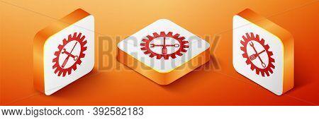 Isometric Maintenance Symbol - Screwdriver, Spanner And Cogwheel Icon Isolated On Orange Background.