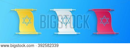 Paper Cut Torah Scroll Icon Isolated On Blue Background. Jewish Torah In Expanded Form. Torah Book.