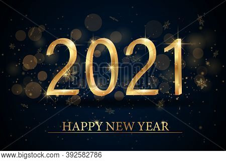 2021 Happy New Year Elegant Design - Vector Illustration Of Golden 2021 Logo Numbers On Balck Backgr