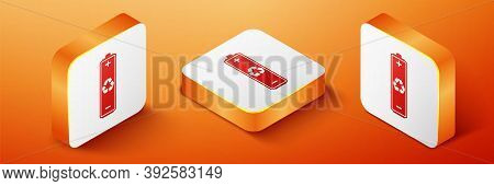 Isometric Battery With Recycle Symbol Icon Isolated On Orange Background. Battery With Recycling Sym