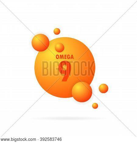 Omega 9 Gold Icon. Fish Oil Capsule. Vitamin Drop Pill Capsule. Gold Essence Organic Nutrition. Shin