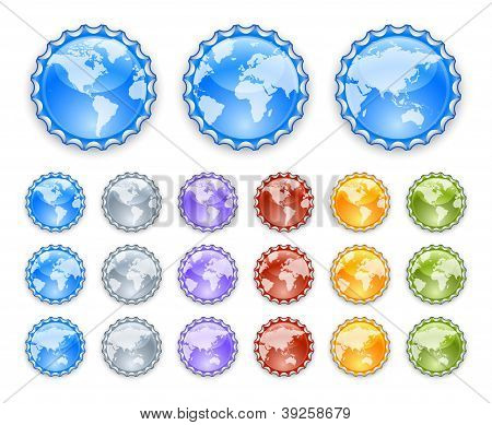Bottle caps with earth globes