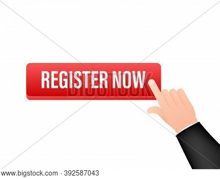 Register Now With Cursor Button. Internet Icon. Pointer Click Icon. Vector Stock Illustration.