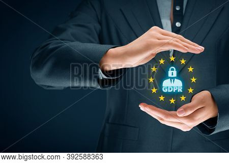 Gdpr (general Data Protection Regulation) Concept. Businesswoman Or It Technologist With Text Gdpr,