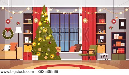 Living Room With Decorated Fir Tree And Garlands For New Year Christmas Holidays Celebration Concept
