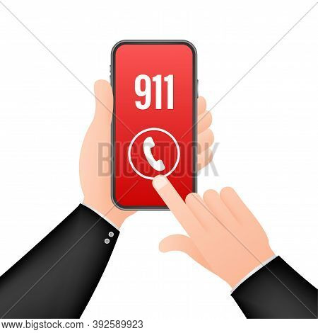 911 Smartphone In Flat Style. Call Icon Vector. Hand Holding Smartphone. First Aid. Finger Touch Scr