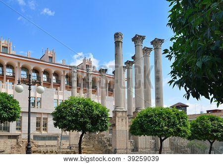 Ancient Columns Near The City Hall In Cordoba