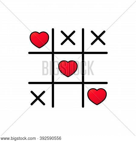 Tic Tac Toe Game With Criss Cross And Crossed Out Red Heart Sign Mark Xoxo. Happy Valentines Day Car