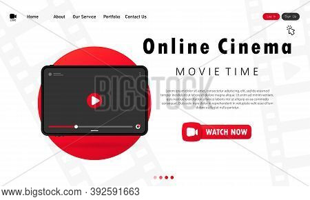 Online Cinema On Tablet Banner. Movie Theater For One Viewer At Home. Movie Time. Vector On Isolated
