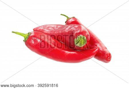 Chili Pepper Isolated On A White Background. Red Chili Hot Pepper Clipping Path. Fresh Pepper.