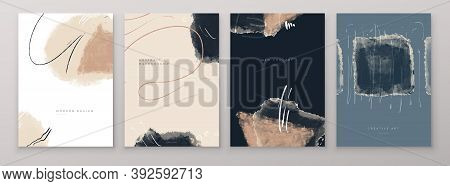 Set Of Creative Abstract Hand Painted Illustrations For Postcard, Social Media Banner Or Brochure Co
