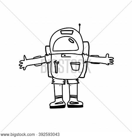 Spaceman Or Astronaut In A Spacesuit. Vector Illustration In Doodle Style On A White Background.