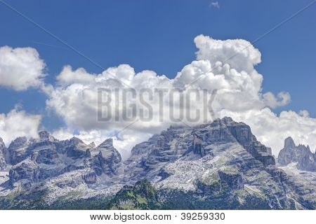 Landscape with natural Dolomites high moutain in italy stock