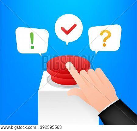 Quiz Button With Speech Bubble Symbols, Concept Of Questionnaire Show Sing, Quiz Button. Vector Illu