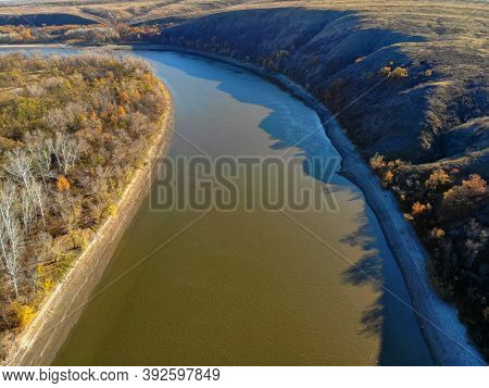 Aerial View Of Steppe And Seversky Donets In Russia. Beautiful Autumn Landscape