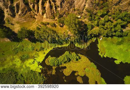 aerial view of spectacular earth formations in Dobrogea, Romania