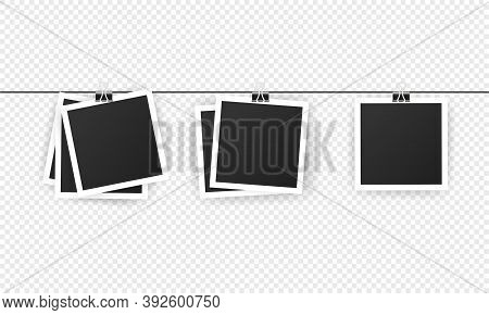 Blank Instant Photo Frame Set Hanging On A Clip.realistic Detailed Photo Icon Design Template. Black