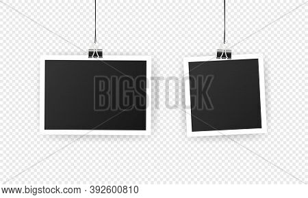 Photo Frame. Mockup Design. Blank Photo Frame Set Hanging On A Clip. Black Empty Place For Your Text