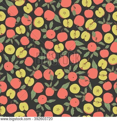 Vector Pink Green Yellow Blue Tossed Seamless Pattern With Apples