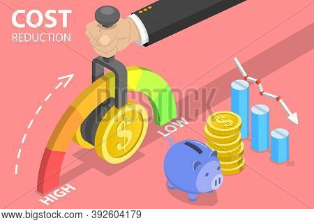 3d Isometric Flat Vector Conceptual Illustration Of Cost Reduction, Price Minimising.