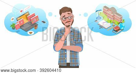 3d Isometric Flat Vector Conceptual Illustration Of Online Learning Vs Offline Learning.