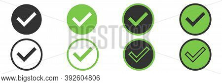 Checkmark Tick Set On White Background. Isolated Green Tick Collection In Different Style. Done And