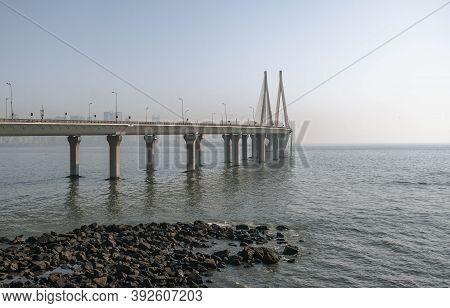 Bandra Sea Bridge - Worli Cable-stayed Bridge Over Mahim Bay Of The Arabian Sea In Mumbai