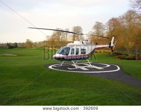 Helicopter At A Golf Course