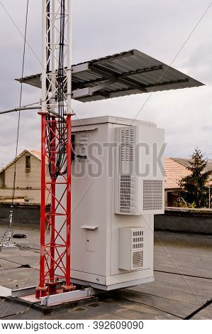 Telecommunication Cabinet From 4g And 5g Telecommunications Tower. Industrial Background.