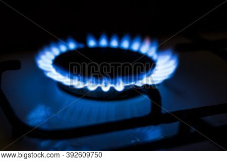Burning Blue Gas. Gas Stove. Topic Of Gas Price Increase