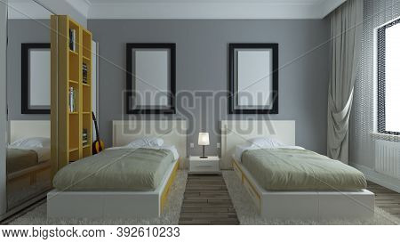 Modern Dorm Room, Grey Walls, Yellow Bookcase, Twin Bed With Photo Frame Interior Design Concept 3d