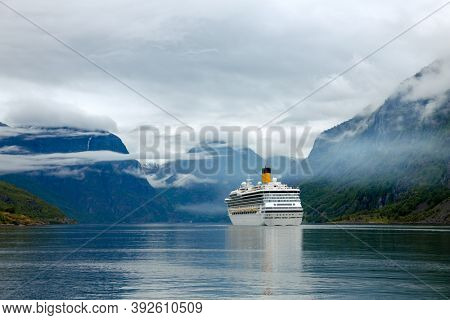 Cruise Ship, Cruise Liners On Sognefjord or Sognefjorden, Flam Norway