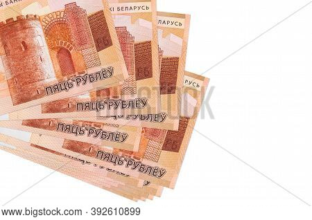 5 Belorussian Rubles Bills Lies In Small Bunch Or Pack Isolated On White. Mockup With Copy Space. Bu