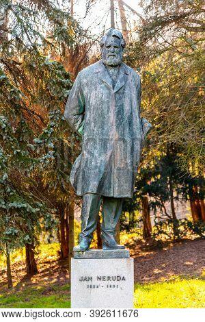 Prague, Czech Republic - February 08, 2020: Statue Of Jan Nepomuk Neruda, Czech Poet, Writer And Jou
